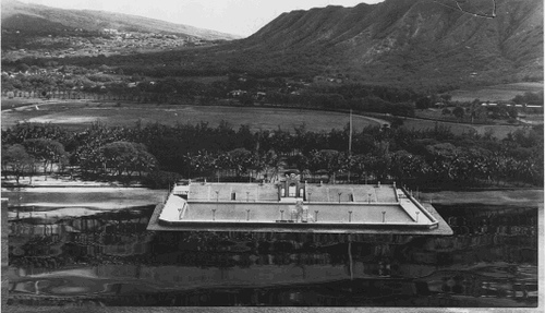 Opening of the Waikiki Natatorium in 1927 at the foot of Diamond Head.