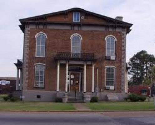 This picture shows you the outside of the court house where the ghost supposedly lives after  lightning etched his image on the upstairs window.