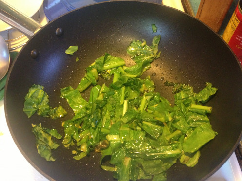Collards, Turnips, Beet greens, Chard... Any sauteed green will work great.