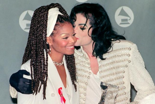 Janet Jackson is shown with her late brother, the legendary Michael Jackson. Janet has been in show biz since she was a small child.