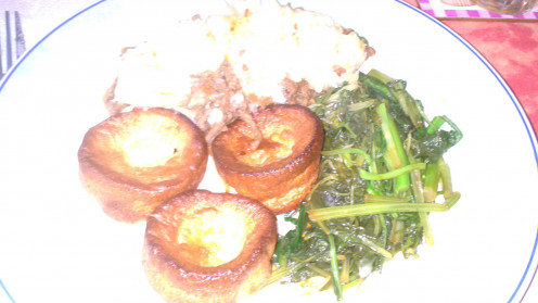 plated cottage pie, with Yorkshire pudding and stir fried pak choi