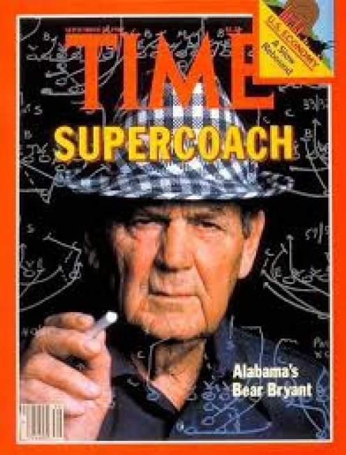 Paul Bear Bryant coached Alabama and is one of the best football coaches in college history. He was a tireless worker who came first and left last everyday during the football season.