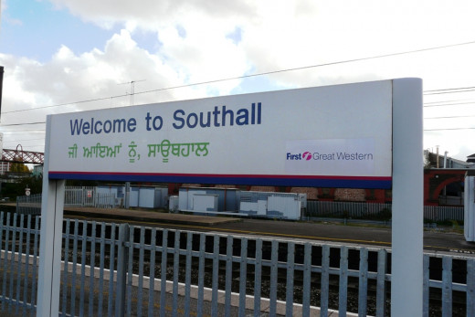 Bilingual Display Sign at Southall Railway Station