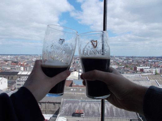 Enjoying our pint of Guinness overlooking Dublin
