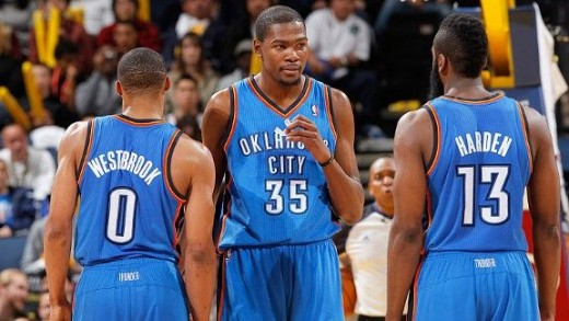 Russell Westbrook, Kevin Durant and James Harden