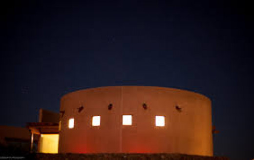 The Marfa Lights Viewing Center at dusk