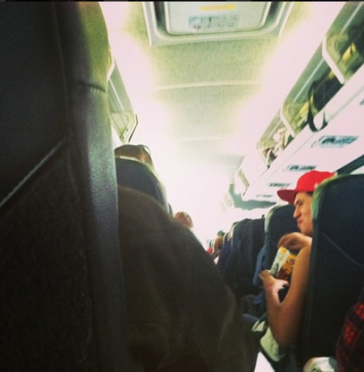 The inside of our Greyhound Bus to Amarillo