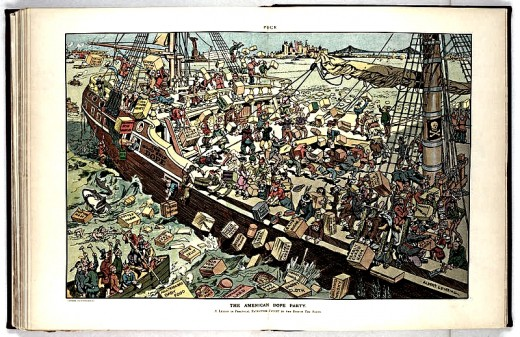 "1906 Illustration shows many men dressed as Native Americans on board a ship labeled ""The Good Ship Dope"", throwing cartons of unhealthy food products over the sides, into the harbor."