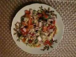 Main Dish Recipe: Vegetable Salad with Slices of Meat