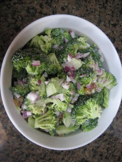Broccoli and golden raisin salad provides much nutrition.