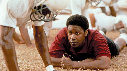 Denzel portrays a tough football coach.