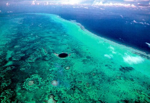 belize blue hole. The Belize Blue Hole from afar