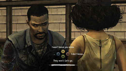 The basic format of a dialogue options in Telltale's The Walking Dead.