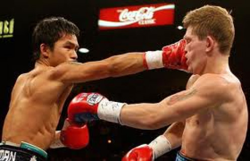 Manny Pacquiao destroyed Ricky Hatton in two one sided rounds. He scored two knock downs in the first and finished him off with a monstrous left in the 2nd heat.