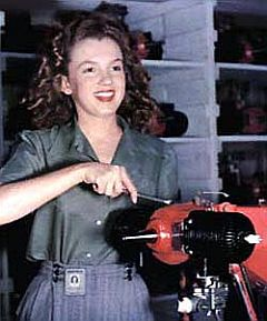 Norma Jean Dougherty was one of our iconic Rosie The RIveter women before she became Marilyn Monroe the glamorous movie star. Here is a photo of her working in a metal factory.