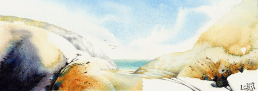 """Seascape 2"" watercolour by Helen Lush"
