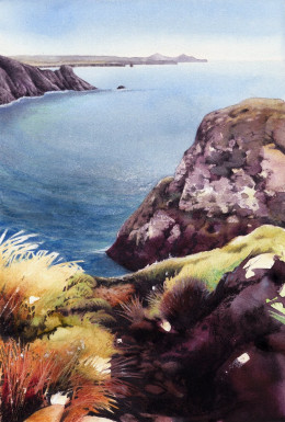 """Late Afternoon, Pwllderi"" watercolour by Helen Lush"