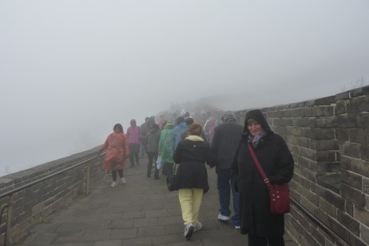 5 b) The Great Wall of China as far as we could see in a heavy fog