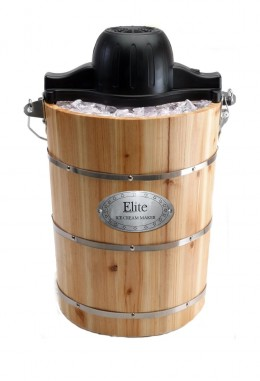 Maxi-Matic Elite Gourmet Old Fashioned Pine Bucket Electric/Manual Ice Cream Maker