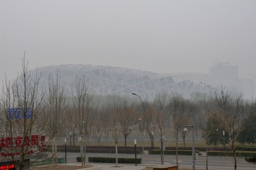 10 a) The Bird's Nest at Olympic Park in the fog