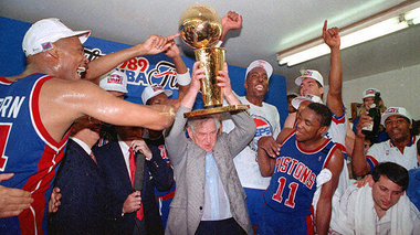 Pistons celebrate their first title