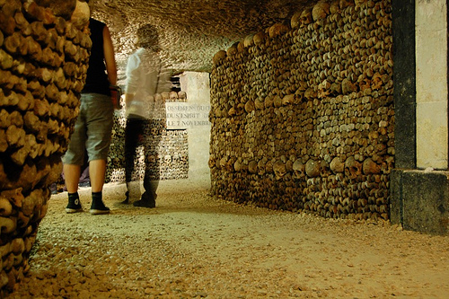 Les Catacombes de Paris, a popular tourist site.