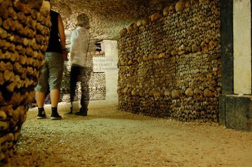 Les Catacombes de Paris, a popular tourist site.
