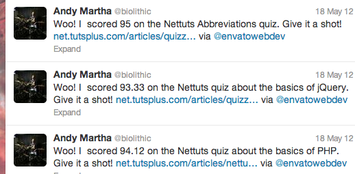 I tweet the response from taking various web development quizzes, with A to A+ grades!