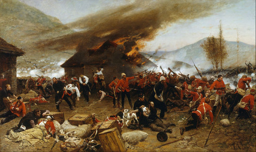 A painting showing the extraordinary defence of Rorke's drift by a small British force against overwhelming odds.