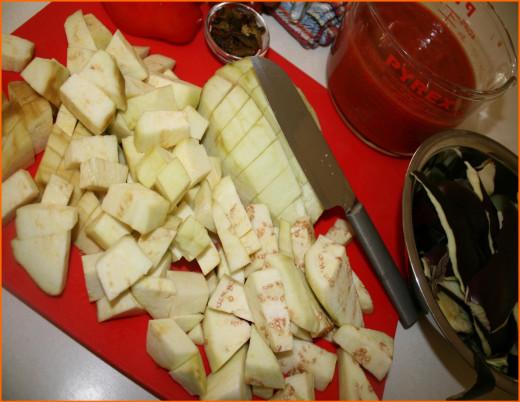 Peeled and chopped eggplant
