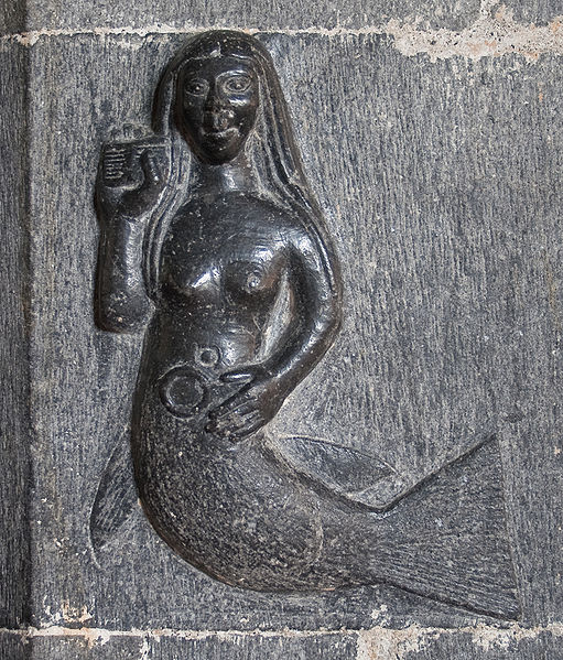 A mermaid statue on Clonfert Cathedral in County Galway, Ireland, which isclose to where real mermaids have been sighted for centuries.