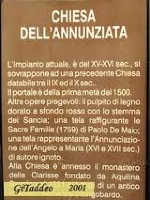 Aquilina Sancia queen of Monteserico and founder of the monastery and church, Dell'Annunziata.