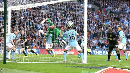 The winning goal for Wigan against Manchester City, 2013.