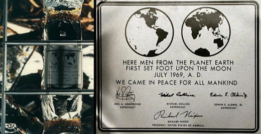"The historical plaque on the Apollo 11 lunar module ""Eagle""."