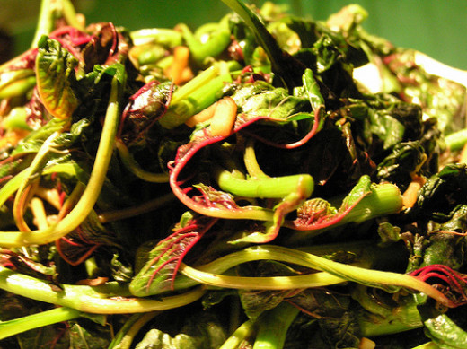 Stir fry Chinese Spinach or Amaranth with Garlic