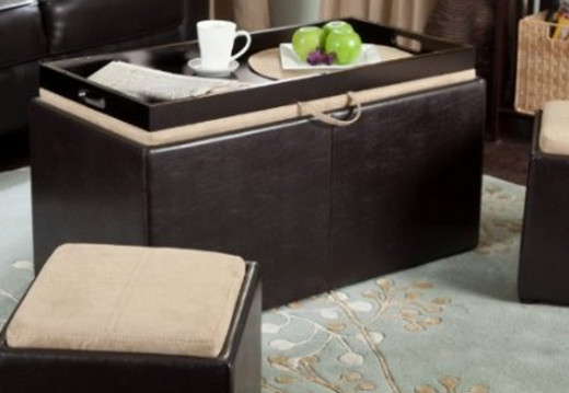 Garrett Coffee Table Storage Ottoman with Tray & Side Ottomans