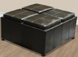 Leather Ottoman With 4 Traytops Storage Coffee Table Sofa Brown Leather