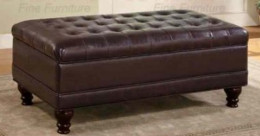 Coaster Storage Ottoman with Tufted Accents in Dark Brown Leather