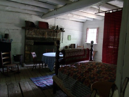 Inside one of the many cabins at New Salem village