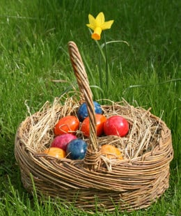 Easter Eggs collected in a basket