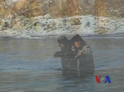 North Koreans crossing the Tumen river to escape