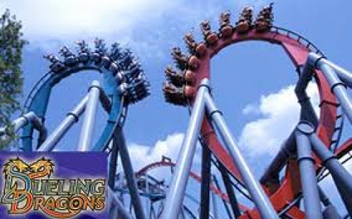 The Dueling Dragons roller coaster is two coasters at the same time going head on.