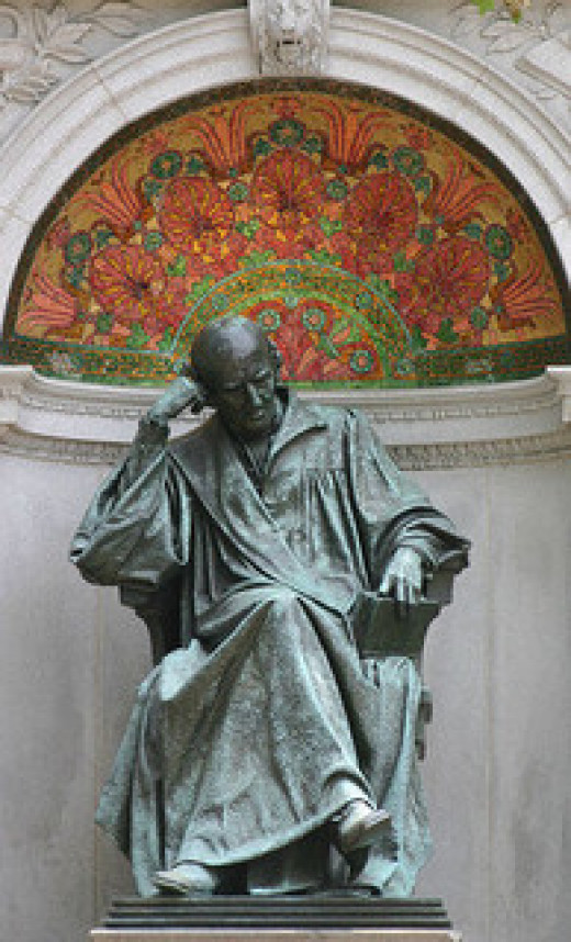 This is a statue of Samuel Hahnemann, the founder of modern homeopathy.