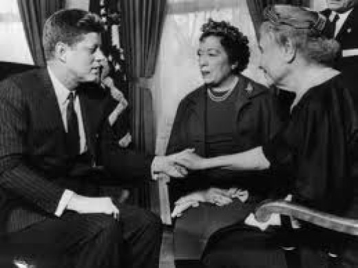 Helen Keller sits with President John F. Kennedy. She met many famous people and inspired many others.