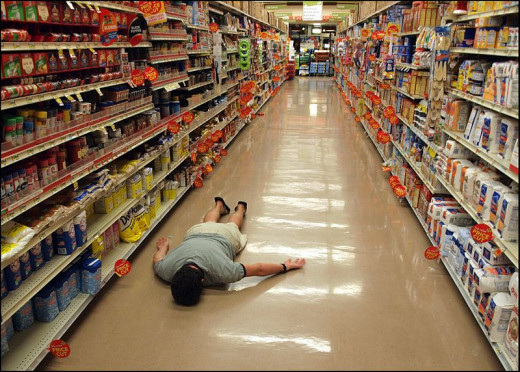 What is Planking: Planking in public places - a supermarket aisle
