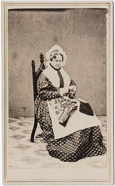 Photograph of a woman knitting, by William Shew 1820-1903.