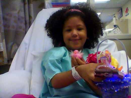 Angel during one of her dialysis treatments