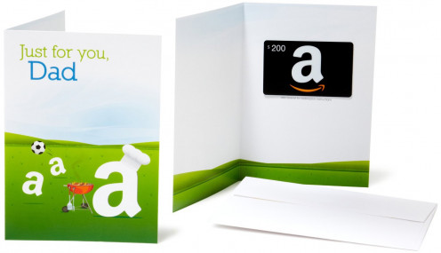 A Gift Card from Amazon.com. Use the white spaces to write heartfelt notes to your Dad.