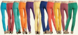 Skinny jeans come in a wide variety of colors.