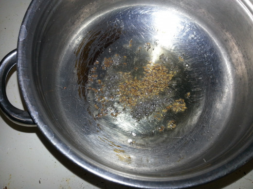 Oil Cumin and mustard seeds